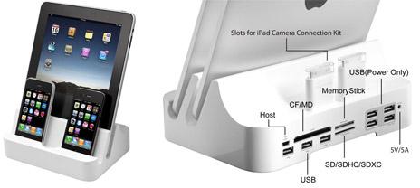 Über-Dock mit 6 Steckplätzen für iOS-Geräte und 10 weiteren ...