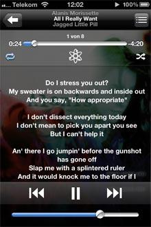 Liedtext Anzeige auf iPhone und iPod touch