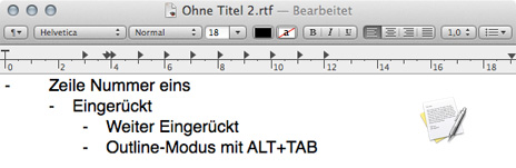 Outline-modus-textedit-mac-osx