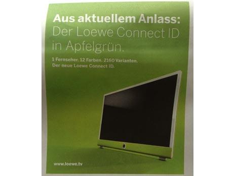 loewe tv ger te mit ipad integration anzeigenkampagne spielt humorvoll auf ger chte um apple. Black Bedroom Furniture Sets. Home Design Ideas