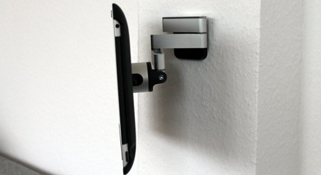 vogels ipad halterung flex mount ausgepackt angebaut. Black Bedroom Furniture Sets. Home Design Ideas