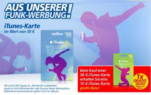 heute und morgen bei real 15 euro itunes karte beim kauf einer 50er karte gratis. Black Bedroom Furniture Sets. Home Design Ideas