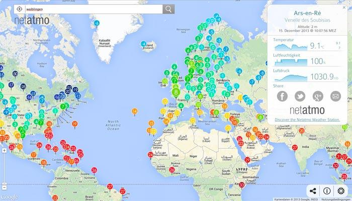 Netatmo World Map Zeigt Messwerte Von Ios Wetterstationen Rund Um