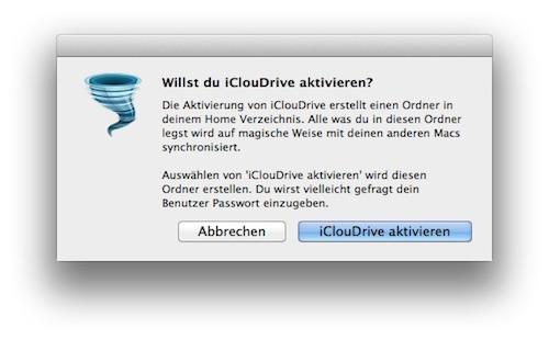 iClouDrive Aktivierung