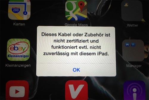 Dieses zubehör wird evtl nicht unterstützt iphone 6