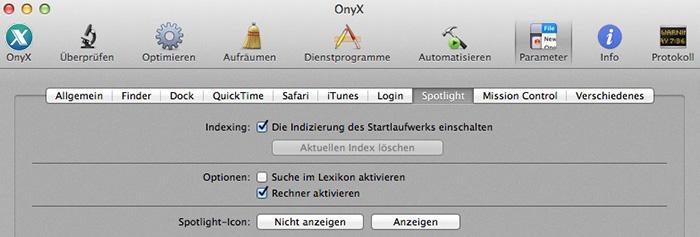 OnyX Indizierung ausschalten