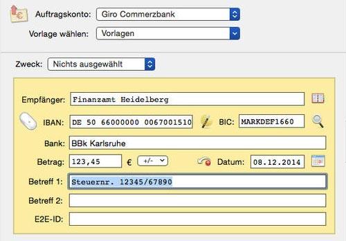 Bank X Online Banking Überweisung