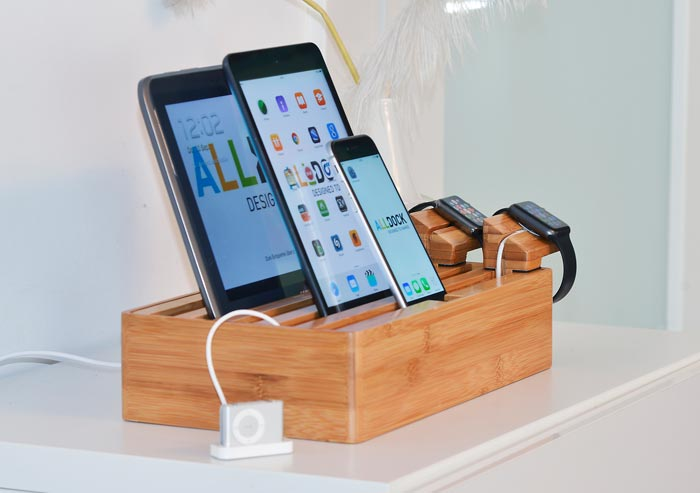 alldock h lzerne ladestation f r smartphones tablets und die apple watch. Black Bedroom Furniture Sets. Home Design Ideas
