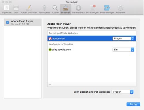 Macos Sierra Safari Flash Einstellungen