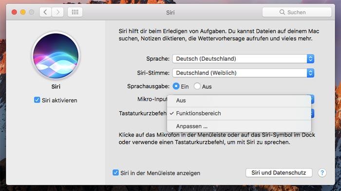 Macos Sierra Siri Einstellungen Funktionsbereich