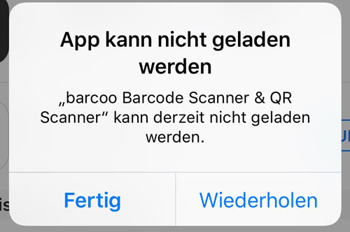 App Kann Nicht Geladen Werden