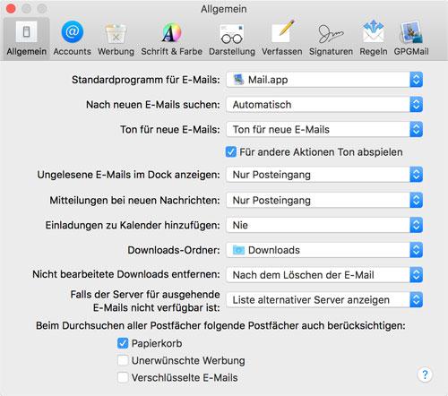 Apple Mail Einstellungen