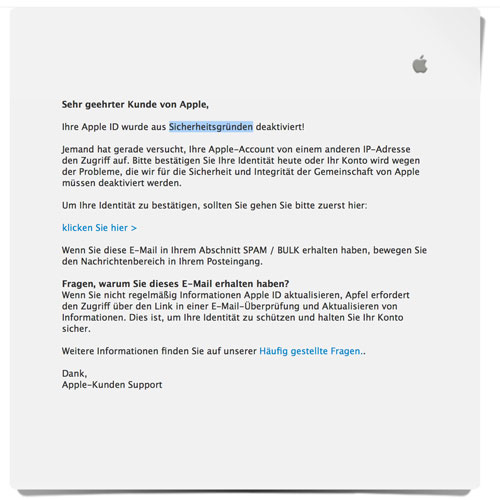 Apple Phishing E Mail