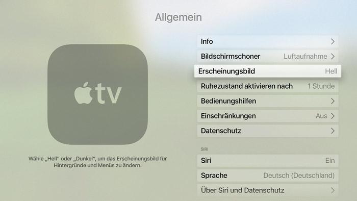 Apple Tv Einstellungen Dunkler Modus