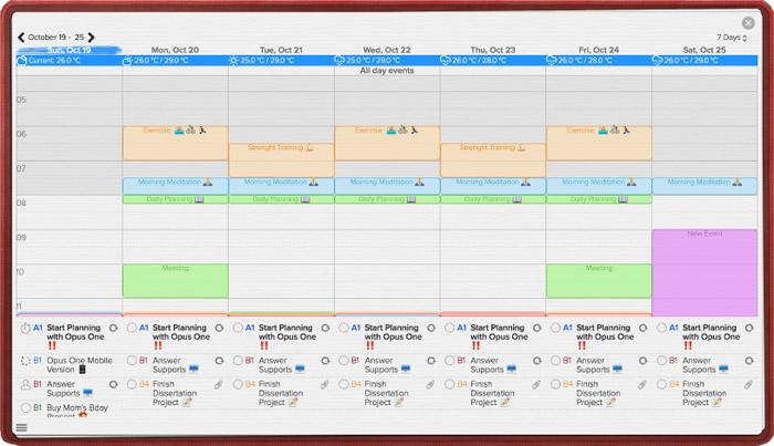 Opus One Wochenansicht