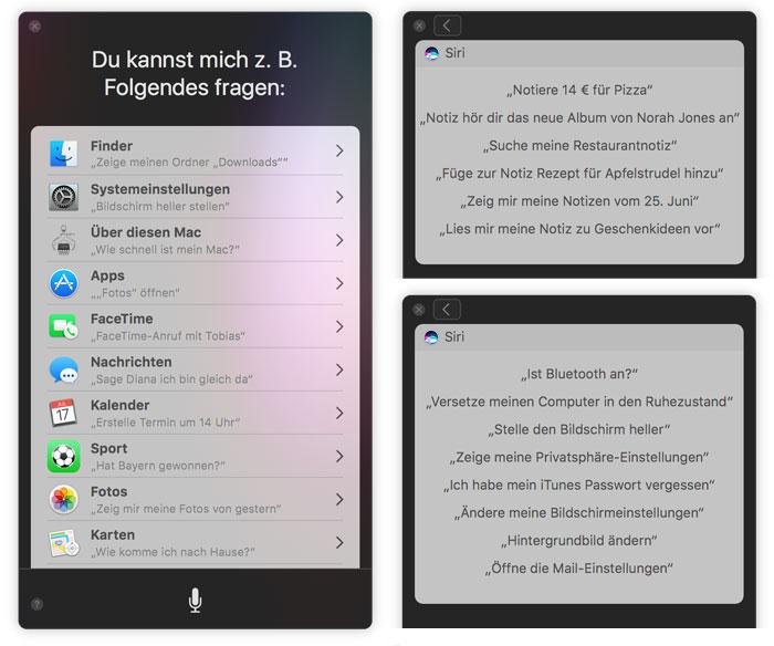 Siri Mac Befehle
