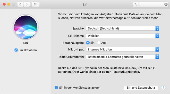 Siri Mac Einstellungen