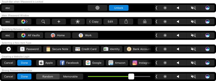 Touch Bar 1password Mac