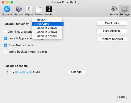 Horcrux Email Einstellungen