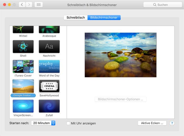 Mac Bildschirmschoner Einstellungen