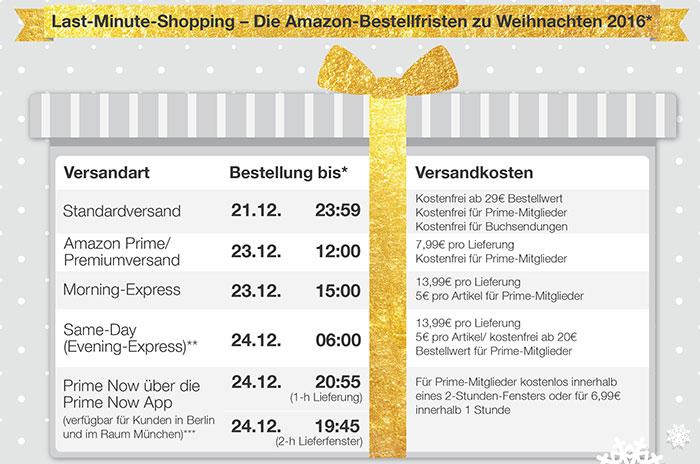 Amazon De Bestellfristen 2016