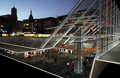 Glasprisma Marktplatz Stuttgart Detail