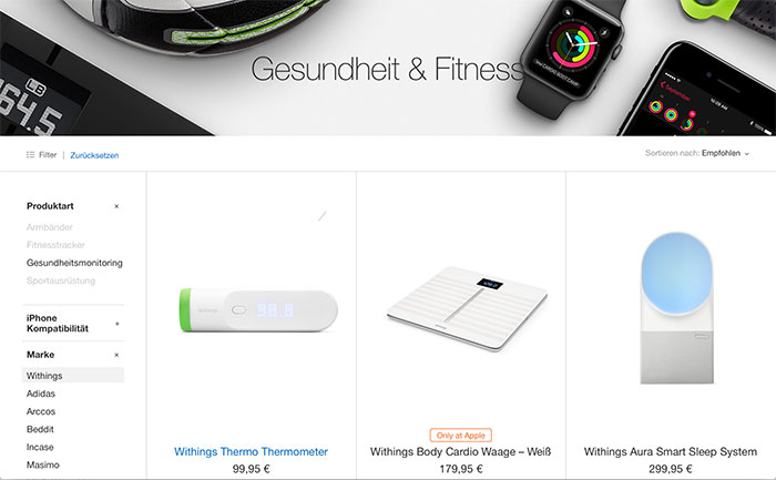 Withings Produkte Im Apple Store