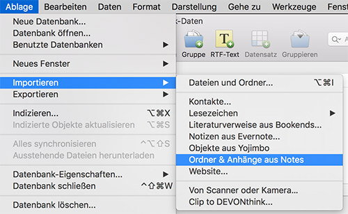 Devonthink Apple Notizen Import
