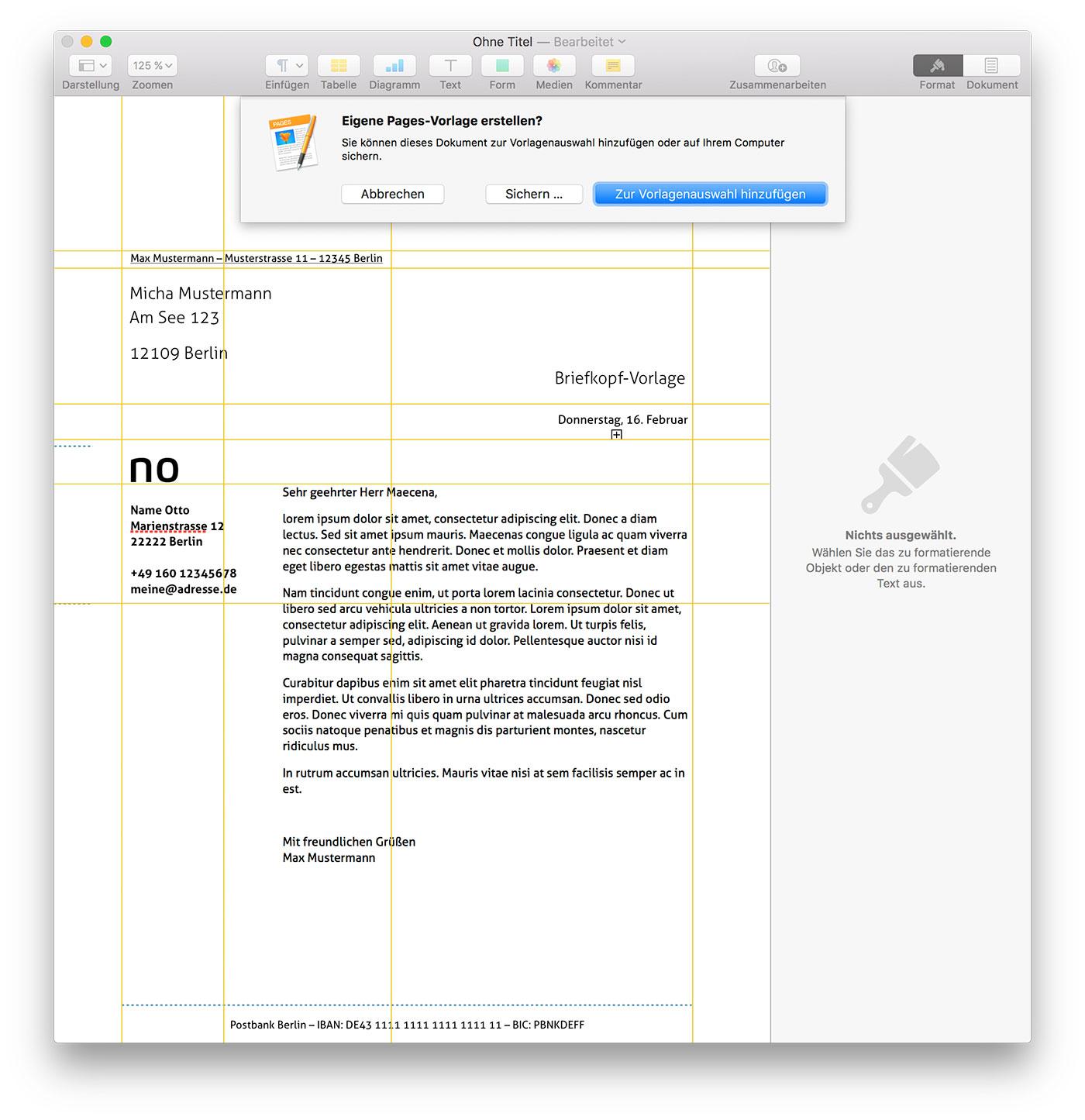 mac tipp pers nlichen briefkopf als feste pages vorlage sichern. Black Bedroom Furniture Sets. Home Design Ideas