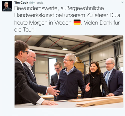 apple kauft m bel aus vreden tim cook auf visite bei dula. Black Bedroom Furniture Sets. Home Design Ideas