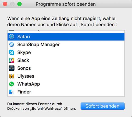 Mac Programme Beenden