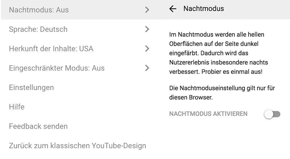 Nachmodus Design Youtube