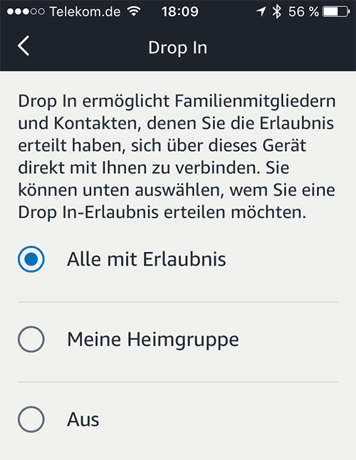 Amazon Echo Drop In Einstellungen
