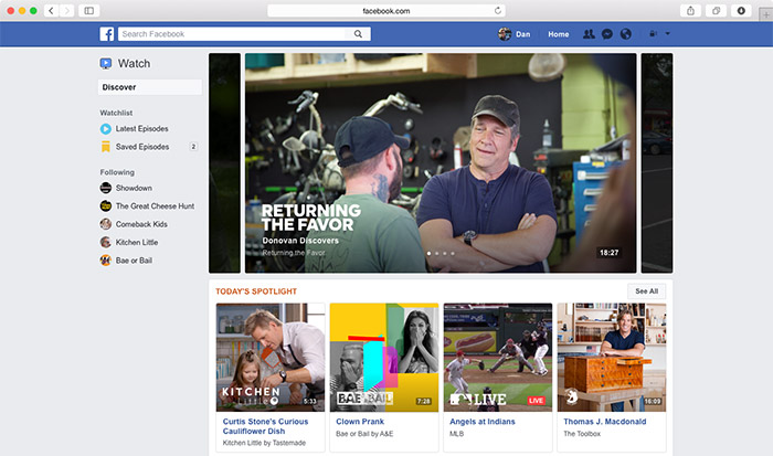 Facebook Watch Desktop