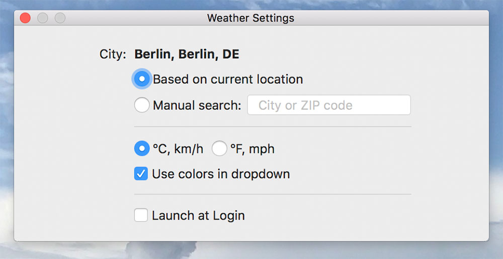 Weather Indicator Settings
