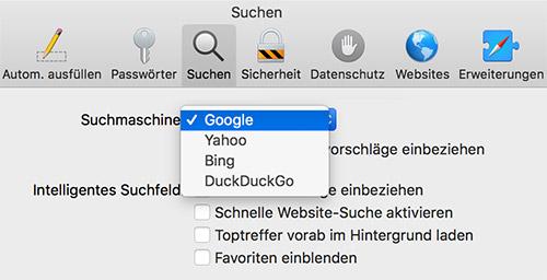 Google Suche Safari Voreinstellung