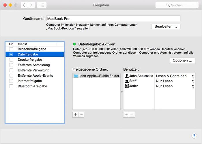 Macos Dateifreigabe