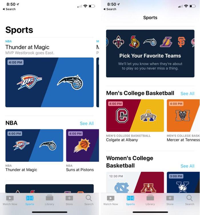 Apple bereitet sport erweiterung f r tv app vor apple tv for Live ergebnisse