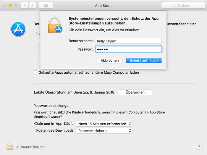 Einstellungen Mac App Store Fehler