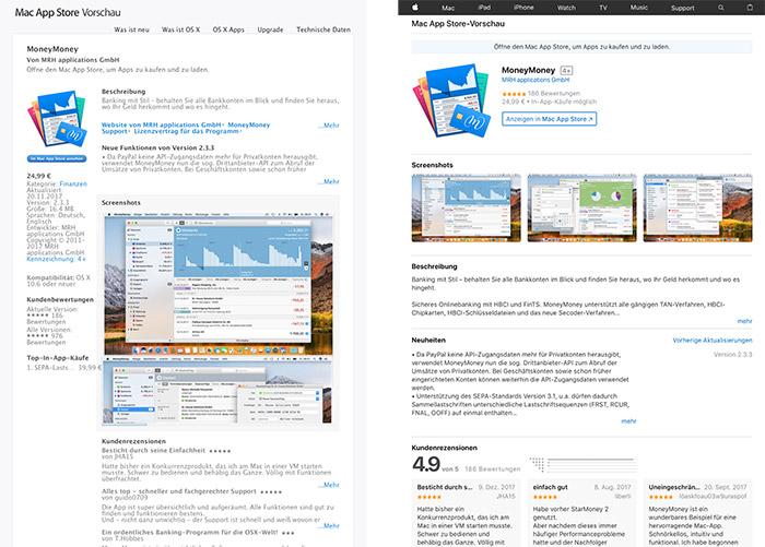 Mac App Store Vorschau Vergleich