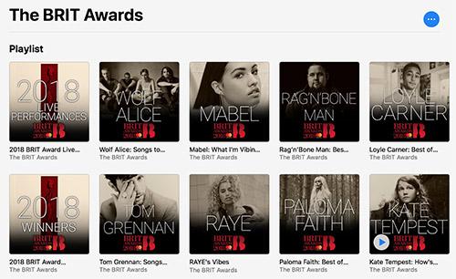 Brit Awards Wiedergabelisten Apple Music