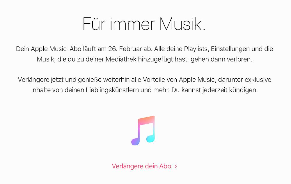Apple Music: E-Mail warnt nach Abo-Kündigung vor Datenverlust › ifun.de