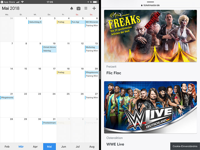 Calendars 5 Split View
