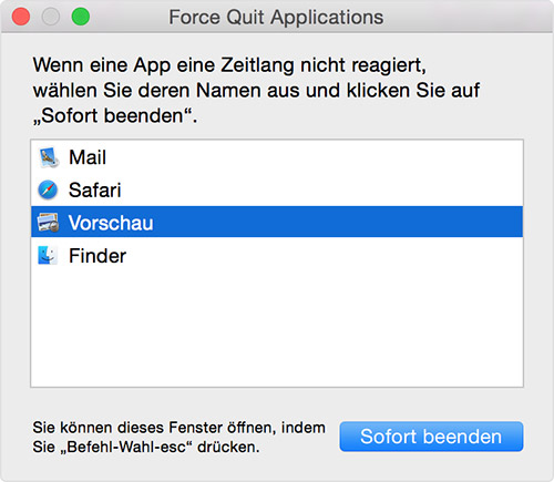 Mac Programme Beenden Force Quit