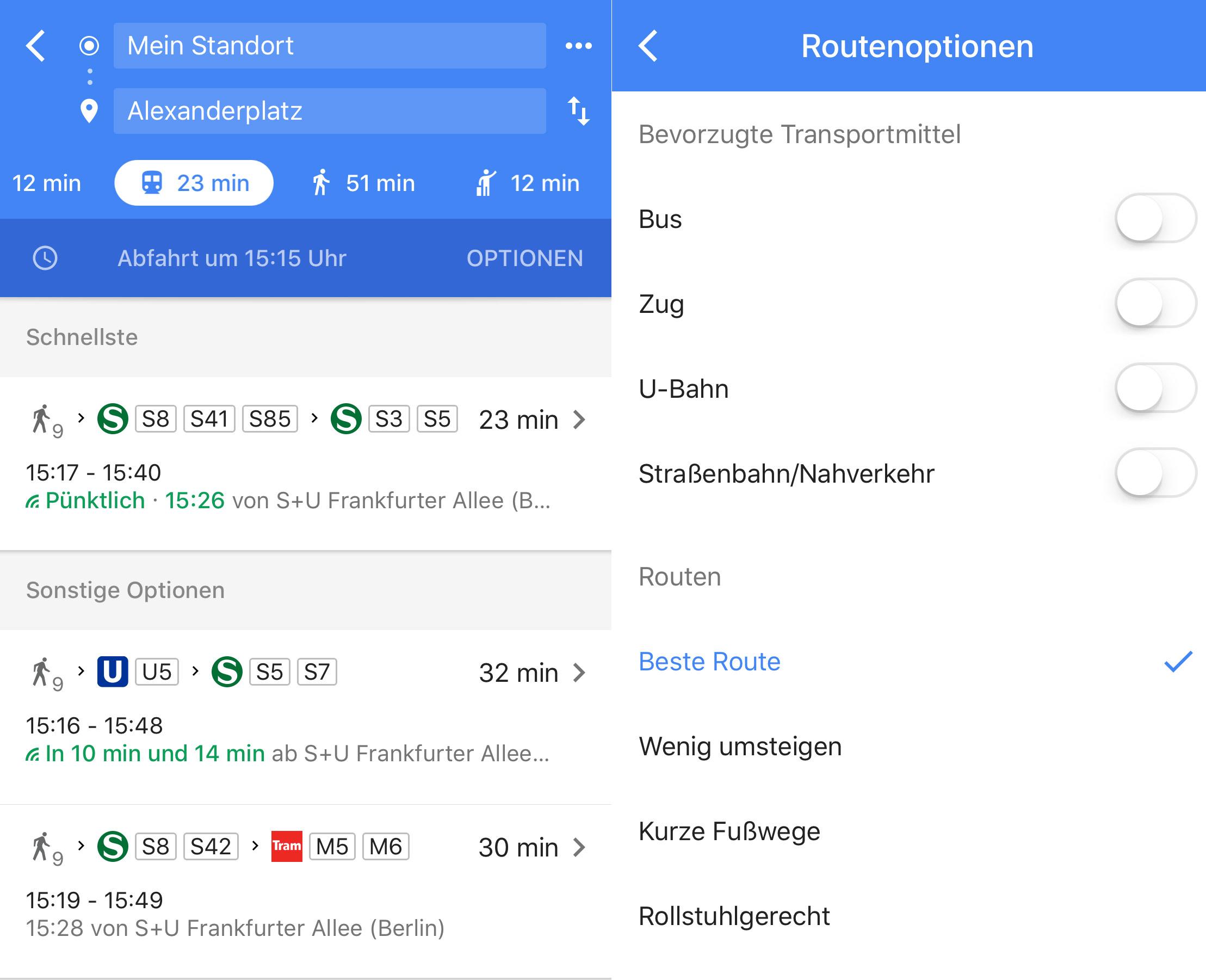 Rollstuhl Google Maps