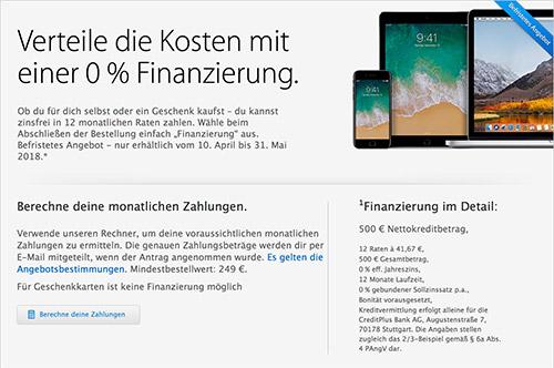 Apple 0 Prozent Finanzierung