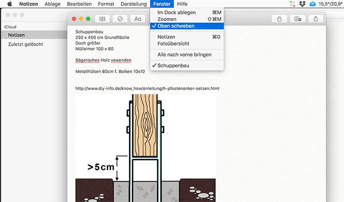 Apple Mac Notizen Schwebende Fenster