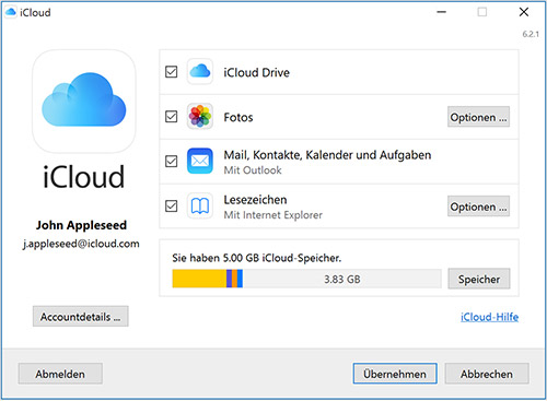 Win10 Icloud For Windows 6 2 1 Einstellungen