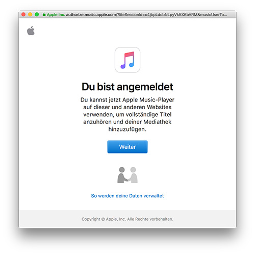Apple Music Player Webbrowser