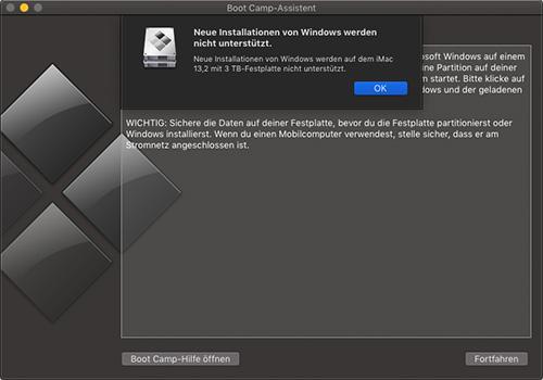 Boot Camp Installation Von Windows Nicht Unterstuetzt